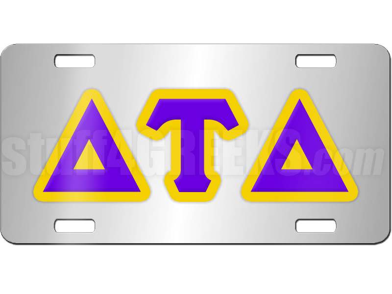 Delta Tau Delta License Plate With Purple And Gold Letters On Silver