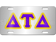 Delta Tau Delta License Plate with Purple and Gold Letters on Silver Background