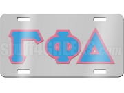 Gamma Phi Delta License Plate with Columbia Blue and Pink Letters on Silver Background