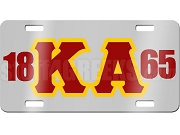 Kappa Alpha Order License Plate with Crimson and Gold Letters on Silver Background