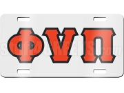 Kappa Alpha Psi License Plate with Red Phi Nu Pi Greek Letters on White Background