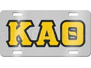 Kappa Alpha Theta License Plate with Black and Gold Letters on Silver Background