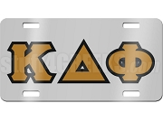 Kappa Delta Phi License Plate with Old Gold and Black Letters on Silver Background