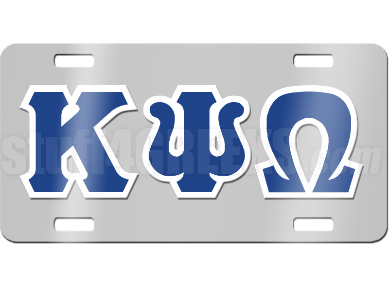 license plate with royal blue and white letters on silver background zoom
