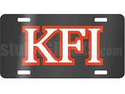 Knights Fraternity, Inc. License Plate with Red and White Letters on Black Background