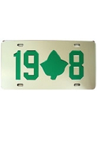 Alpha Kappa Alpha License Plate with Kelly Green 19-IVY-8 on Silver Background