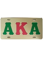 Alpha Kappa Alpha License Plate with Kelly Green and Pink Letters on Silver Background