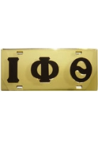 Iota Phi Theta License Plate with Brown Letters on Gold Background
