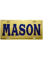 Mason License Plate with Royal Blue Letters on Gold Background