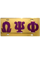 Omega Psi Phi License Plate, Purple Letters on Gold Background (CQ)