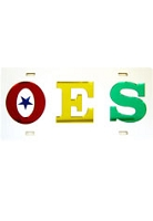 Order of the Eastern Star License Plate with Red, Royal Blue, Gold, and Kelly Green letters on Silver Background