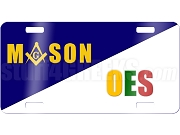 Mason/Order of the Eastern Star License Plate with Square and Compass on Split Background
