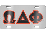 Omega Delta Phi License Plate with Black and Scarlet Letters on Silver Background