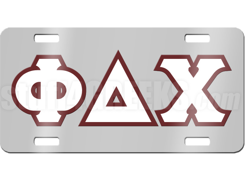 Phi Delta Chi License Plate With White And Maroon Letters On Silver