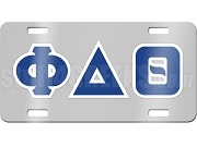 Phi Delta Theta License Plate with Royal Blue and White Letters on Silver Background