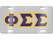 Phi Sigma Sigma License Plate with Royal and Gold Letters on Silver Background