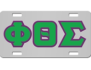 Phi Theta Sigma License Plate with Kelly Green and Purple Letters on Silver Background