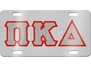 Pi Kappa Delta License Plate with Gray and Red Letters on Silver Background