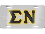 Sigma Nu License Plate with Black and Gold Letters on Silver Background