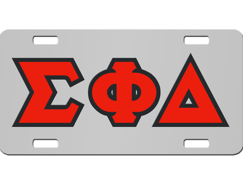 Sigma Phi Delta License Plate With Red And Black Letters On Silver