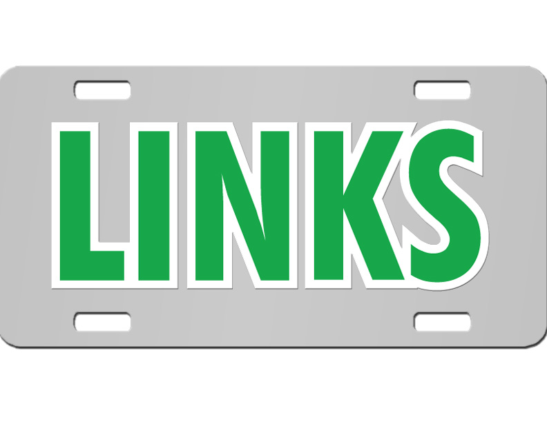 the links license plate with kelly green and white letters on silver background zoom
