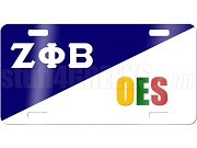 Zeta Phi Beta/Order of the Eastern Star License Plate with Split Background