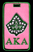 Alpha Kappa Alpha Luggage Tag with Pearl Ivy