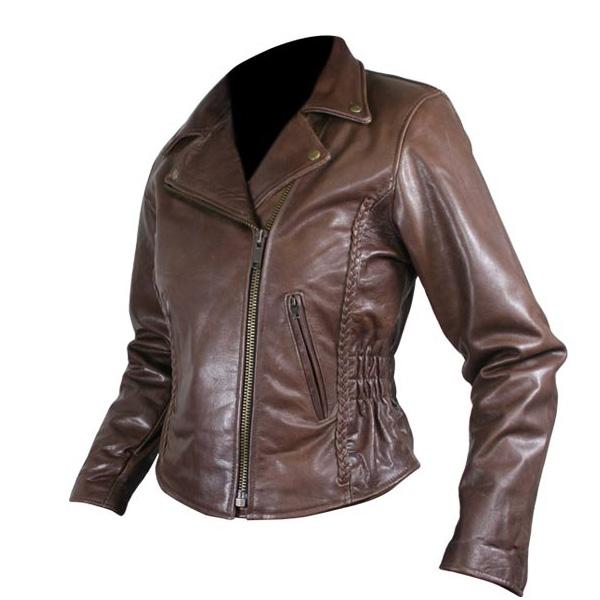 Ladies Brown Leather Jacket Custom ladies braided classic