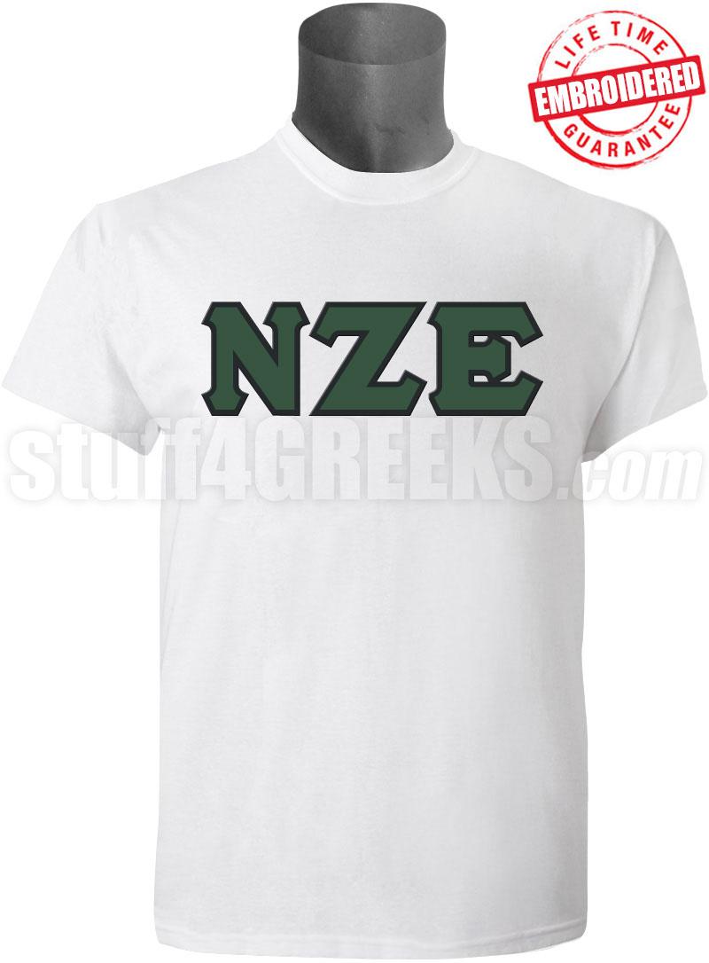 Nu zeta epsilon greek letter t shirt white embroidered for Cute greek letter shirts