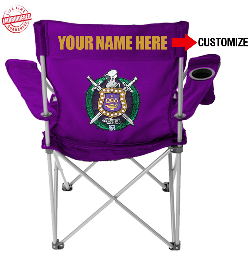Omega Psi Phi Crest Lawn Chair With Choice Of Text Purple