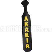 Acacia Paddle with Glossy Black Wood and Reflective Old Gold Letters