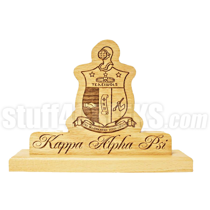 Kappa Alpha Psi Stained Wood Desk Plaque
