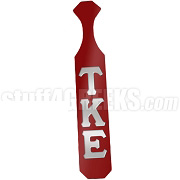 Tau Kappa Epsilon Paddle with Glossy Crimson Wood and Reflective Gray Letters