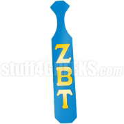 Zeta Beta Tau Greek Letter Paddle with Columbia Blue Glossy Wood