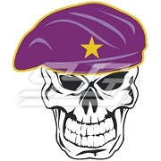 Omega Psi Phi Skull Wearing Beret Patch