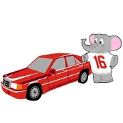 Elephant with Red Benz Patch