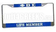 Phi Beta Sigma Life Member License Plate Frame- Phi Beta Sigma Car Tag