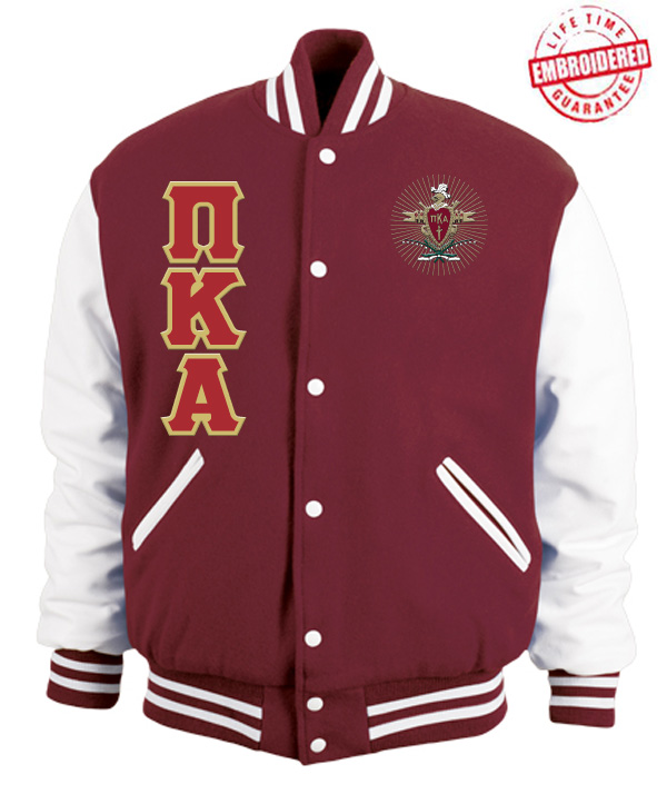 pi kappa alpha varsity letterman jacket with greek letters and crest crimson redwhite zoom
