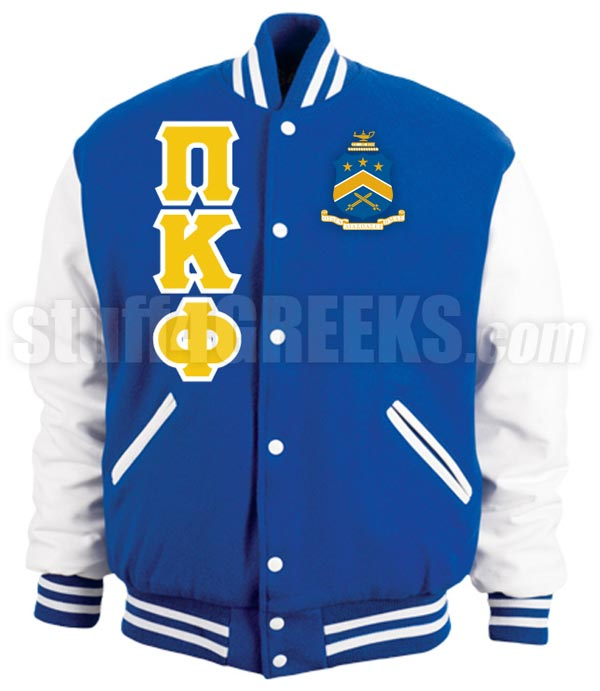 Pi Kappa Phi Varsity Letterman Jacket With Greek Letters And Crest