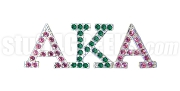 Alpha Kappa Alpha Greek Letter Lapel Pin with Swarovski Austrian Crystal, Silver (Pink/Green)
