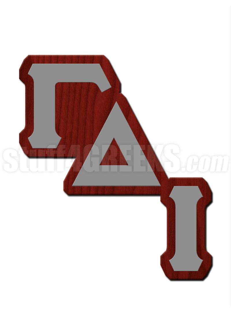 Gamma Delta Iota Lapel Pin With Diagonal Greek Letters Maroon