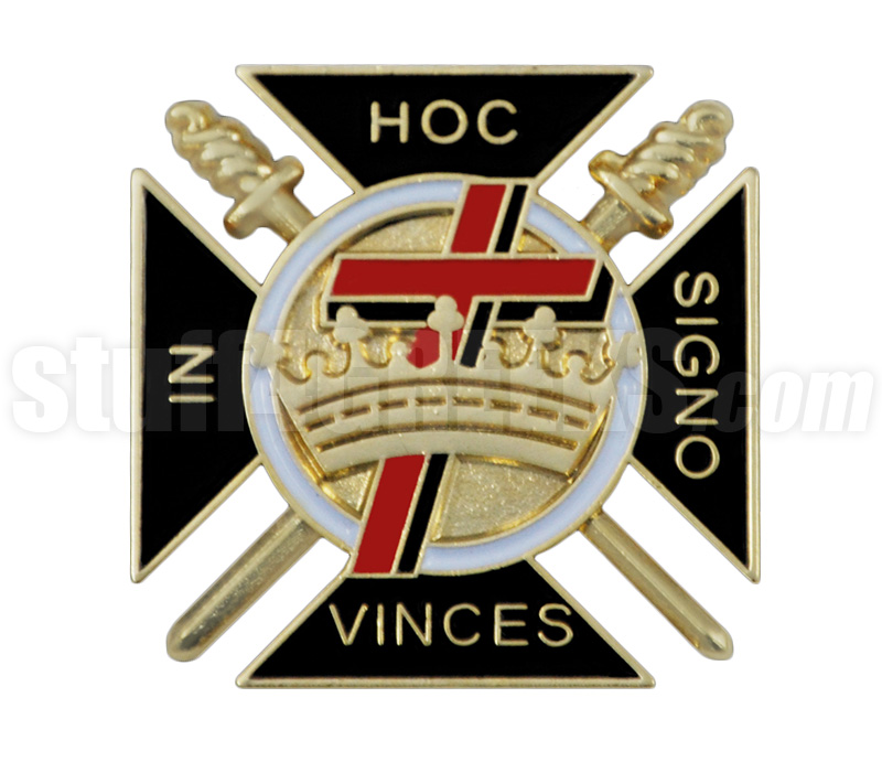 Knights Templar 1 Shield Cross And Crown Fraternal House Lapel