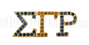Sigma Gamma Rho Greek Letter Lapel Pin with Swarovski Austrian Crystal, Gold (Blue/Gold)
