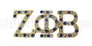 Zeta Phi Beta Greek Letter Lapel Pin with Swarovski Austrian Crystal, Gold (Multicolor-Clear/Blue)
