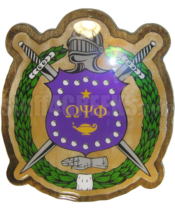 Omega Psi Phi 15 Crest Plaque Glossy Wood Allow 4 To 6 Weeks
