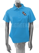 Gamma Phi Delta Polo Shirt with Crest, Columbia Blue