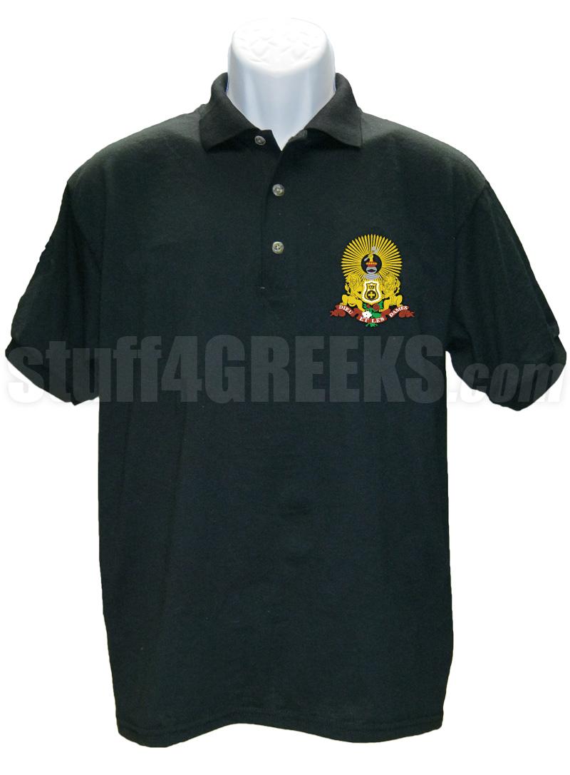 Kappa alpha order polo shirt with crest black for Order custom polo shirts