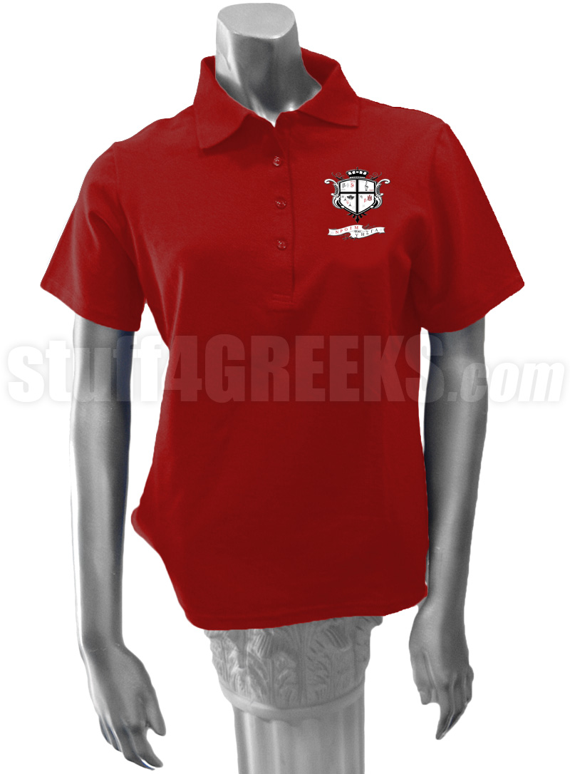 Nu Rho Sigma Ladies Polo Shirt With Crest Crimson