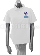 Phi Nu Kappa Greek Letter Polo Shirt with Crest, White