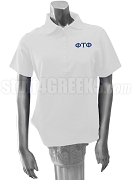 Phi Tau Phi Ladies Polo Shirt with Greek Letters, White